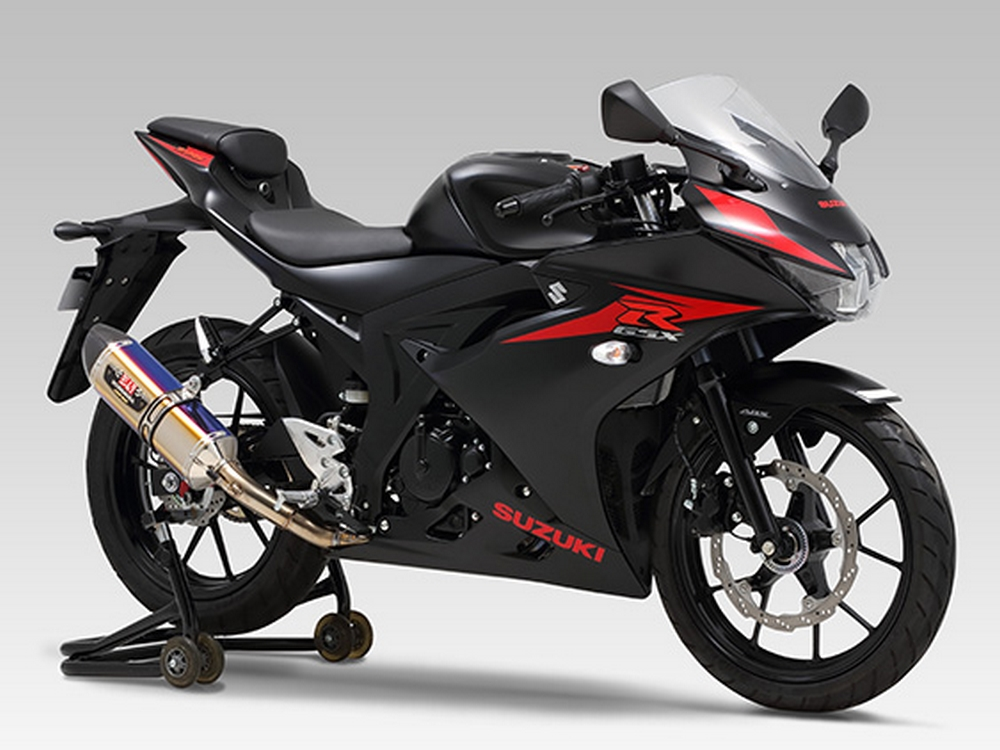 yoshimura r 77s full exhaust system for gsx s125 r125 and. Black Bedroom Furniture Sets. Home Design Ideas